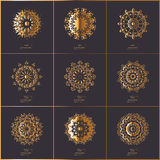Set of ornamental cards with gold flower oriental mandala on dar Royalty Free Stock Images