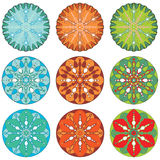 Set of Ornamental Christmas patterns. Set of Ornamental circle for Christmas patterns Stock Illustration