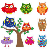 Set of ornamental colorful owls with tree Royalty Free Stock Image