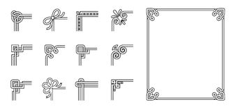Set of Ornamental Corners Different Style Vintage Stock Photos