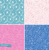 Set of ornamental cute seamless floral patterns. Decorative beauty backgrounds. With flowers Stock Photo