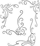 Set of 4 ornamental decorative floral corners. Vector illustrati. On for your design or tattoo Royalty Free Stock Image