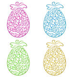 Set ornamental eggs in floral style for Easter Royalty Free Stock Photography