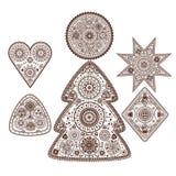 Set of ornamental elements. Set of decorative ornamental festive complicated elements Stock Photos