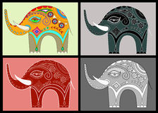 Set ornamental elephants Royalty Free Stock Photo