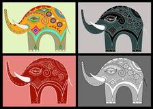 Set ornamental elephants Royalty Free Stock Photo