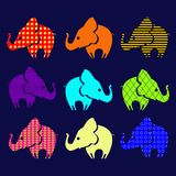 Set of ornamental elephants Stock Photo