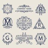 Set ornamental emblems company logos Stock Photography