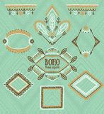 Set of ornamental frames. Vector indian collection for BOHO design. Royalty Free Stock Images