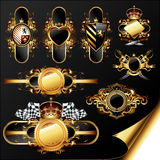 Set of ornamental golden labels Royalty Free Stock Photo