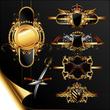 Set of ornamental golden labels Stock Photo