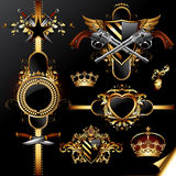 Set of ornamental golden labels. On the black background, this illustration may be useful as designer work Royalty Free Stock Photo