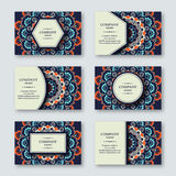 Set of ornamental hand drawn mandala cards, business, visiting t Stock Images
