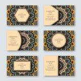 Set of ornamental hand drawn mandala cards, business, visiting t Royalty Free Stock Photo