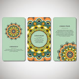 Set of ornamental hand drawn mandala cards, business, visiting t Stock Photography
