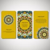 Set of ornamental hand drawn mandala cards, business, visiting t Stock Image