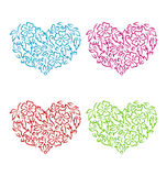 Set ornamental hearts in floral hand drawn style for Valentine D Stock Photos