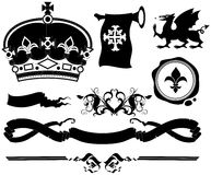 Set of ornamental heraldic elements Royalty Free Stock Photography