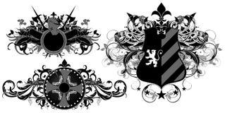 Set of ornamental heraldic shields Stock Photos