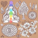 Set of ornamental Indian symbols Royalty Free Stock Photography