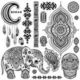 Set of ornamental Indian symbols.Ethnic elephant Stock Image