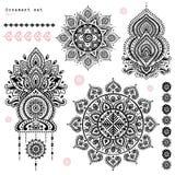 Set of ornamental Indian symbols.Ethnic elephant Royalty Free Stock Photos