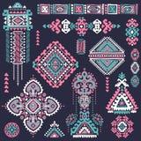 Set of ornamental Indian symbols.Ethnic elephant Stock Images