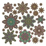 Set of ornamental  rosettes in arabic style Stock Photos