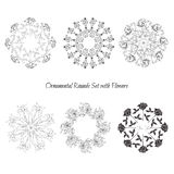 Set ornamental round with flowers Stock Photo