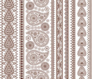Set of Ornamental Seamless Borders in indian style Stock Image