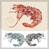 Set ornamental shrimps red black color. Ornamental prawns on white and brown background. Isolated crustacean in the red, green and black colors. The modern Stock Photo
