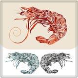 Set ornamental shrimps red black color Stock Photo