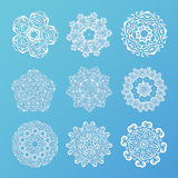 Set of ornamental snowflakes. Indian mandala style. Element for Stock Photography