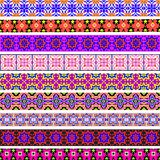 Set of ornamental strips of colored geometric ornament Royalty Free Stock Photo