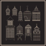 Set of ornamental vintage birdcage. Book illustration, stickers or mobile applications, design for invitation, wedding or greeting cards. Details vector Royalty Free Stock Photography