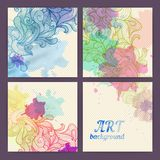 Set of ornamental watercolor banners Royalty Free Stock Photos
