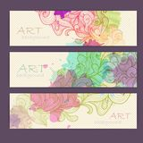 Set of ornamental watercolor banners. Set of ornamental artistic watercolor banners Stock Images