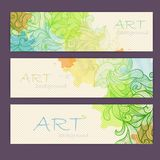 Set of ornamental watercolor banners. Set of ornamental artistic watercolor banners Royalty Free Stock Photos