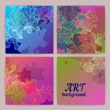 Set of ornamental watercolor banners. Set of ornamental artistic watercolor banners Royalty Free Stock Photo