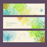 Set of ornamental watercolor banners with dandelion Stock Photos