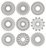 Set of ornaments. Set of rosettes, ornaments and decorative lines royalty free illustration
