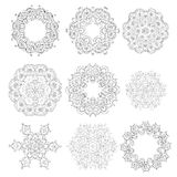 Set of Ornaments black white cards with mandalas. Stock Image