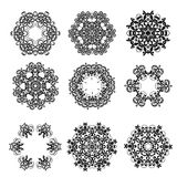 Set of Ornaments black white cards with mandalas. Royalty Free Stock Images