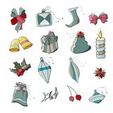 Set of ornaments for christmas vector illustration