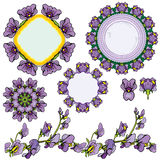 Set of ornaments - circle frames, floral borders with iris flowe. Rs color Stock Photos