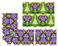 Set of ornaments - decorativ floral border and seamless pattern Stock Photo