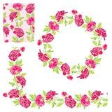 Set of ornaments - decorative hand drawn floral border,  circle Royalty Free Stock Photos