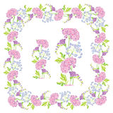 Set of ornaments - decorative hand drawn floral border and frame Stock Photos