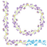 Set of ornaments - decorative hand drawn floral border and round Stock Photography