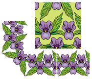 Set of ornaments floral border and seamless pattern Stock Photos